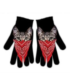 Black & Red Bandanna Cat Gloves