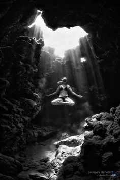 Peace... - by Jacques de Vos - (Russian Freediver Nadia Borozdenkova hovering the light rays of a cave in the Red Sea.)