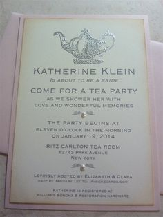 Tea Party Invitation Bridal Shower Vintage Inspired - 10 invitations and envelopes on Etsy, $37.50