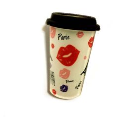 Paris Coffee Mug Brooch, Coffe Lovers Gift Idea, I Love Paris and... (38 ILS) via Polyvore featuring jewelry, brooches, lucite jewelry, pin jewelry, coffee jewelry, acrylic jewelry and i love jewelry