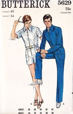 28bef46045cc Vintage Mens Butterick 5629 Retro Front Zippered Jumpsuit Sewing Pattern by  PeoplePackages