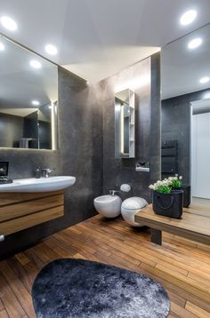 Home Interior 2019 This contemporary penthouse apartment located in Bucharest Romania was designed in 2017 by Ralu Dofin.Home Interior 2019 This contemporary penthouse apartment located in Bucharest Romania was designed in 2017 by Ralu Dofin Diy Bathroom Decor, Bathroom Interior Design, Small Bathroom, Bathroom Bath, Gray Interior, Remodel Bathroom, Bathroom Vanities, Bathroom Ideas, Bad Inspiration