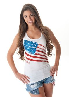 Girls With Guns Clothing Flag Tank - White
