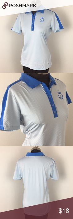 Women's Nike Golf PGA Cup Blue Polo Women's Nike Golf PGA Cup Blue Polo, size medium, 18% Spandex, measurements in photos. Machine washable. Excellent condition, no signs of wear. Nike Tops