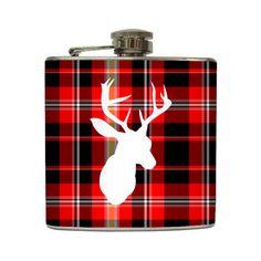 Deer Silhouette Whiskey Flask Plaid Buck Outdoorsmen Dad Groomsmen Guys Gift Stainless Steel 8 oz or 6 oz Liquor Hip Flask LC-1049. $20,00, via Etsy.