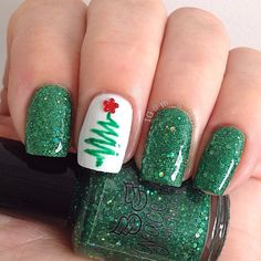 cute & simple Christmas tree accent nail by m_a_tom #fav