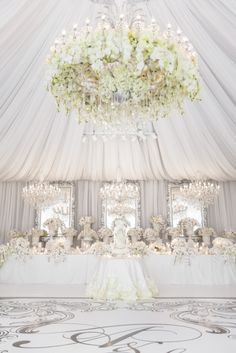All white elegant and luxurious reception. Wow!