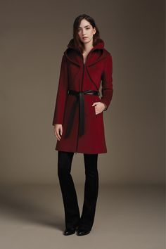 ARYA-F6 is a slim fit classic wool coat that features a leather belt, bolero detailing on bodice and an oversize dramatic face-framing hood Features signature stretch lining that enhances breathability and comfort. Timeless and versatile, this slim fit style is perfect for heading to work or a night on the town. Discover at http://www.soiakyo.com/ca/en/arya-slim-fit-wool-coat-with-dramatic-hood-in-marsala-for-women