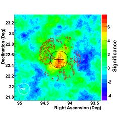 Observation of extended VHE emission from the supernova remnant IC443 with VERITAS - Significance map for the IC 443 field (click through to read full caption)   (Reference:  V. A. Acciari et al. (The VERITAS Collaboration), The Astrophysical Journal, 698: L133-L137, 2009)