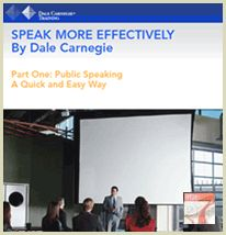 Speak More Effective Part One – Public Speaking: A Quick and Easy Way! This presentation booklet reveals tips and success stories Mr. Dale Carnegie discovered and compiled throughout his career. Learn his secrets – and you can speak effectively, too!