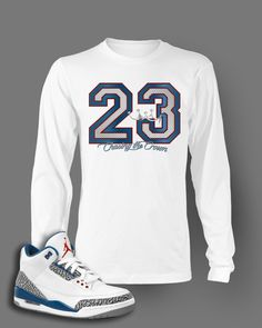Long Sleeve Graphic T Shirt To Match Retro Air Jordan 3 True Blue Shoes b01e2444b