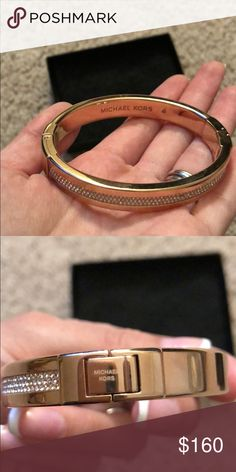 NWOT Michael Kors Gold Bangle w/Crystal Bracelet NWOT. Unfortunately, this bracelet fits me too big. I got it as a gift for Christmas:( It's soo pretty and I would hate for it to just be left sitting there which is why I'm selling it. Michael Kors Jewelry Bracelets