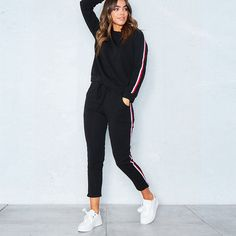 Novas Mulheres Da Moda Conjuntos de Roupas Casuais de Manga Comprida Pulôver Tops + Calças de Algodão Listrado Casuais Conjuntos de Roupas Outwear Outono em Conjunto feminino de Das mulheres Roupas & Acessórios no AliExpress.com   Alibaba Group