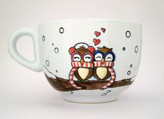 I LOVE this #owls cup,, I think I want it!  #Valentines mug  hand painted by vitaminaeu, €18.00