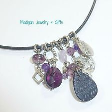 Silpada Sterling Silver Amethyst Leather Cha Cha Charm Necklace N1788 Retired