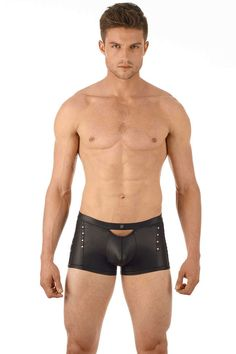 Teaming leather look fabric with metal studs guarantees an abundance of sex appeal from these shorts for men. Also available as a thong, jock or brief. Gregg Homme Lure Boxer Brief £58.94