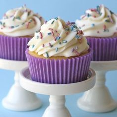 vanilla cupcakes from scratch. Just tried them and they are really good!!!!