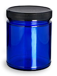 Blue glass jar- there must be some fantastic use for this and I will find it. glass bottle crafts 9 oz Cobalt Blue Straight Sided Glass Jar with Black Lid Glass Bottles For Sale, Blue Glass Bottles, Glass Bottle Crafts, Glass Vials, Bottles And Jars, Contact Dermatitis, Drying Herbs, Bath Salts, Black Glass
