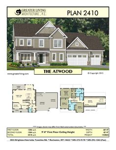 Plan 2410: THE ATWOOD - House Plans -  Two Story House Plans - Greater Living Architecture - Residential Architecture