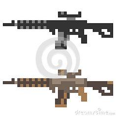 Illustration pixel art icon gun assault rifle
