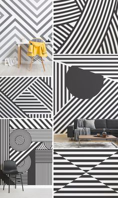 6 Camouflage Wallpaper Designs That Make A Statement Geometric Wall Paint, Geometric Wallpaper Murals, Room Wallpaper, Dazzle Camouflage, Camouflage Patterns, Black And White Wallpaper, Striped Wallpaper, Camouflage Wallpaper, Accent Wall Designs
