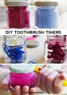 It's easy to make a DIY toothbrush time with just a few materials. All you will need is some glitter glue, jars, glitter and water.