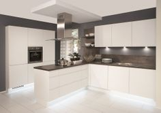 Nobilia Duo 333 White Matt Handle-less German kitchen Grey Kitchens, Luxury Kitchens, Home Kitchens, Kitchen Living, New Kitchen, Kitchen Decor, Kitchen Grey, White Kitchen Floor, Kitchen Ideas