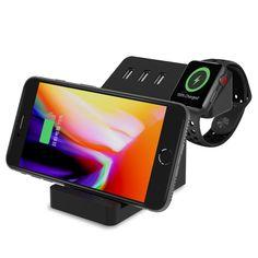 Apple Watch Stand X-dodd Support de Chargeur de Bureau universel avec 3 ports Chargeur USB avec Chargeur Induction Sans Fil Station de charge 3 en 1 pour iPhone 6 7 8 X Plus iPad iWatch Appareils multiples