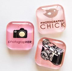 Photography Magnets, Fridge Magnets, Camera Magnets, Glass Magnets, Gift for Her. $6.50, via Etsy.