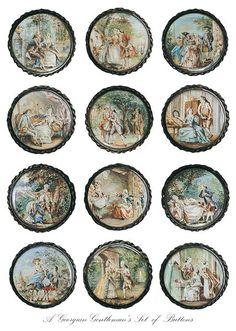 A Georgian Gentleman's Set of Buttons  These buttons are French and were made in the late eighteenth century. They depict lovers and intrigue.