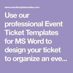Event Ticket Template Word Event Ticket Template Ai Psd  Ticket Templates  Pinterest .