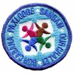Four, 4, World, Centers, Paxlodge, Sangam, Chalet, Cabana, Patch, Embroidered Patch, Merit Badge, Badge, Emblem, Iron On, Iron-On, Crest, Lapel Pin, Insignia, Girl Scouts, Boy Scouts, Girl Guides