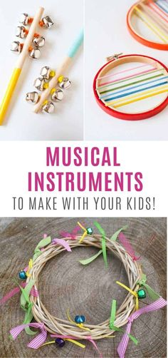 8 DIY Musical Instrument Crafts that your kids can make and play - Upcycled Crafts Musical Instruments For Toddlers, Homemade Musical Instruments, Music Instruments, Music For Kids, Diy For Kids, Crafts For Kids, Children Crafts, Upcycled Crafts, Handmade Crafts