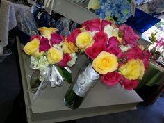 hot pink and yellow Flowergirls Weddings 58th & Lewis Tulsa, Ok 918-949-1553 www.flowergirlsoftulsa.com