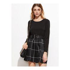 SheIn(sheinside) Black Grid 2 In 1 Dress With Belt ($15) via Polyvore featuring black