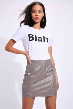 b49a1c3367 Grey Eyelet Detail Pu Mini Skirt