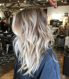 Messy Dark-Blonde Hair with Vanilla-Blonde Balayage and Chunky, Wavy Layers by rena