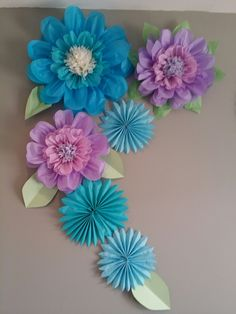3 feet by 2.5 feet paper flowers and pinwheels backdrop Large Paper Flowers, Tissue Paper Flowers, Paper Flower Backdrop, Giant Paper Flowers, Paper Crafts Origami, Diy Paper, Paper Art, Paper Flower Tutorial, Paper Decorations