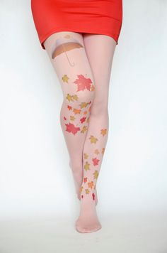 Autumn Leaves Pink Pantyhose Tights,Red Green Yellow Print Umbrella Leggings, Tattoo Tights, Pantyhose Handmade Printed Tights