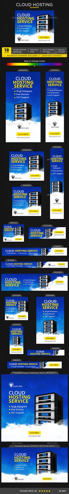 Cloud Hosting Banners - Image Included - #Banners & Ads Web #Elements Download here: https://graphicriver.net/item/cloud-hosting-banners-image-included/20056440?ref=alena994