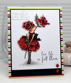 Stamping Bella JANUARY 2017 rubber stamp release-Tiny Townie Garden Girl POPPY card made by Michele Boyer