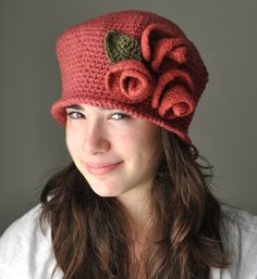 Ruby Cloche Hat, Crochet Hat with Ruby-Sienna Rose- Felted Flowers , Falpper Crochet Hat. $35.00, via Etsy.