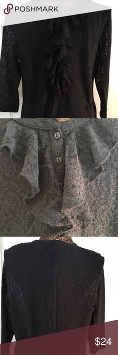 """NWT, Lauren Ralph Lauren Black Lace Top Black lace seven button placket long sleeve top with ruffle around the placket. 3/4 length sleeves. Nylon/elastane blend. Hand wash; lay flat to dry. Dress up or down. 21.5"""" across bust, 17"""" across shoulders, 28"""" long to tuck in or leave out, 21.5"""" sleeve length. NWT. Ralph Lauren Tops"""