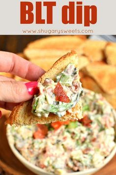 BLT Dip recipe: a tasty snack inspired by a classic sandwich. Made with bacon, lettuce, tomato, mayo, and served with toast! Appetizer Dips, Appetizer Recipes, Appetizer Party, Quick Appetizers, Dip Recetas, Yummy Snacks, Yummy Food, Savory Snacks, Tasty