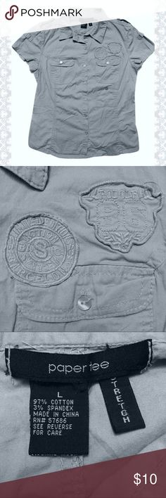 Buckle- Paper Tee  Military Style Top- L Gray button down top by Paper Tree* from The Buckle ••Has some stretch to it ••Military type style Paper Tee Tops Button Down Shirts