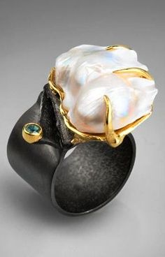 By German Kabirski - I love all what he design ! Gems Jewelry, Sea Glass Jewelry, Pearl Jewelry, Contemporary Jewellery, Modern Jewelry, Artisan Jewelry, Handmade Jewelry, Unusual Jewelry, Pearl Ring