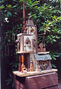 """""""found Object"""" birdhouse.this guy is the original creator. Birdhouse Designs, Birdhouse Ideas, Flea Market Gardening, Garden Art, Garden Junk, Garden Ideas, Magical Tree, Bird Boxes, Garden Styles"""