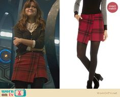 Clara's red plaid skirt and bow cardigan on the Doctor Who Christmas Special.  Outfit Details: http://wornontv.net/24552/ #DoctorWho