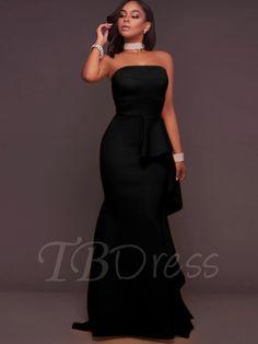 Strapless Falbala Bodycon Women's Maxi Dress - m.tbdress.com