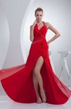 evening dress,evening dresses,evening dress,evening dresses a-line chiffon halter natural waist sweep/brush train low back beading ruffles high split red evening dress Bridesmaid Dresses 2017, Red Wedding Dresses, Party Dresses For Women, Holiday Dresses, Homecoming Dresses, Dress Prom, Formal Dresses, Dress Long, Chiffon Evening Dresses